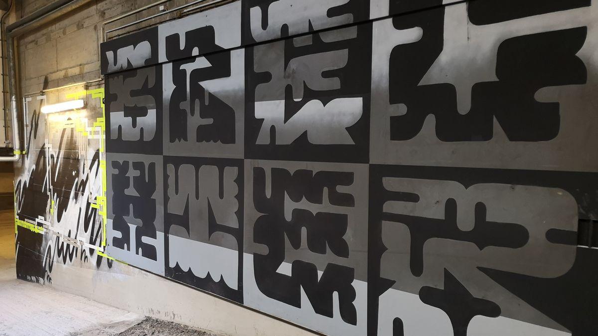 Streetart in geometrischen Formen.