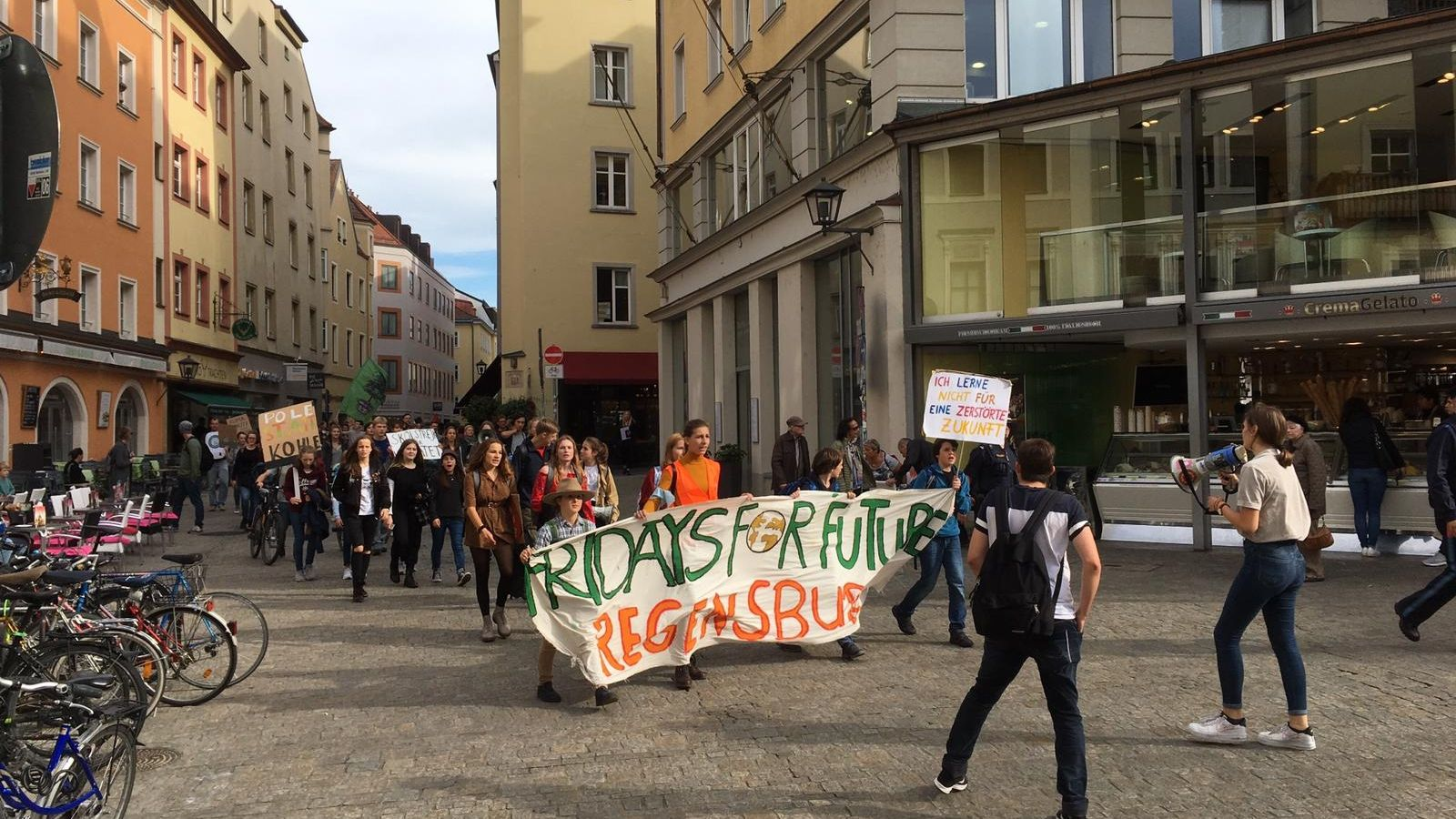 Die Klima-Schutz-Demo zog mit rund 250 Teilnehmern durch die Regensburger Altstadt