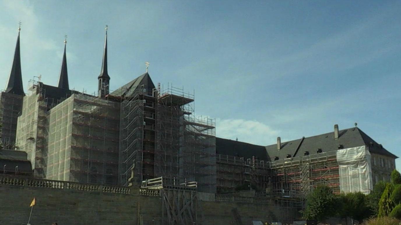 Sanierungsarbeiten am Bamberger Wahrzeichen St. Michael.