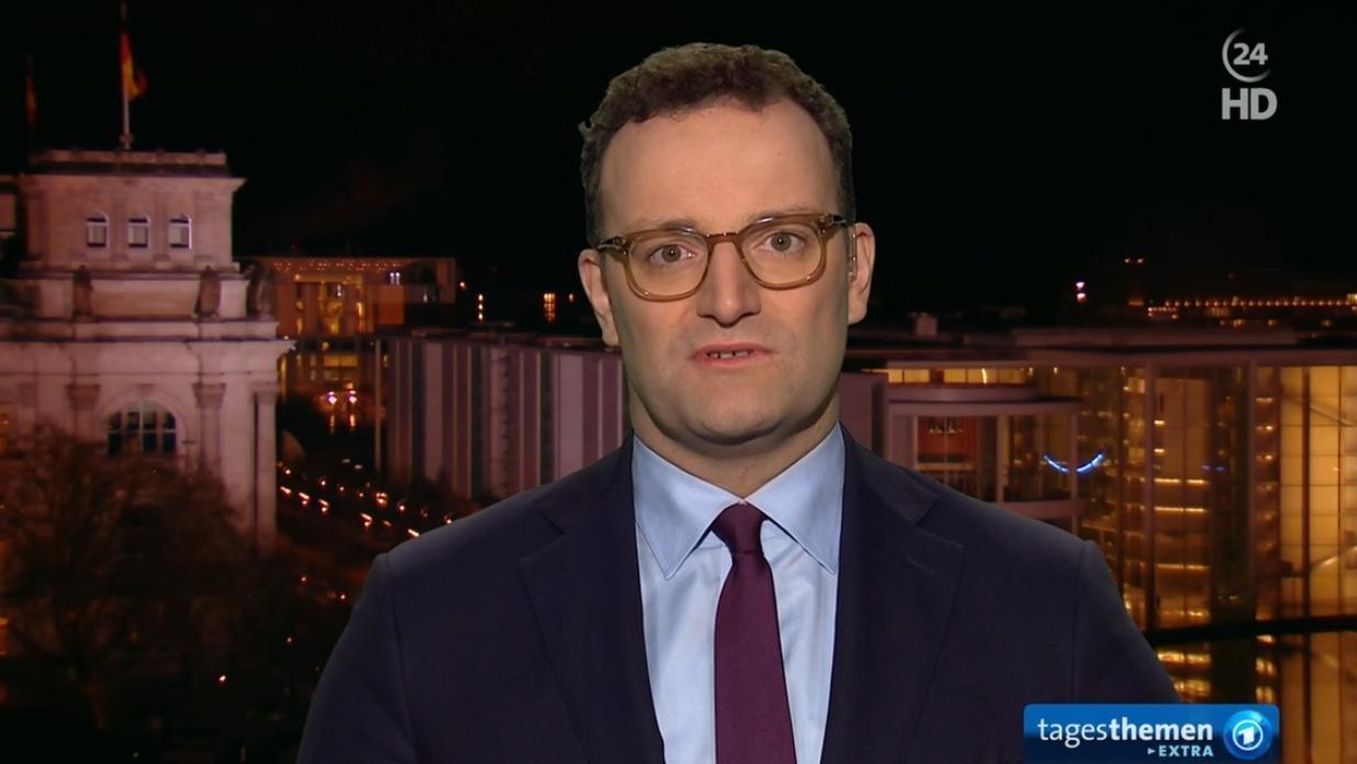 """Bundesgesundheitsminister Jens Spahn (CDU) im Interview mit den ARD-""""tagesthemen""""."""