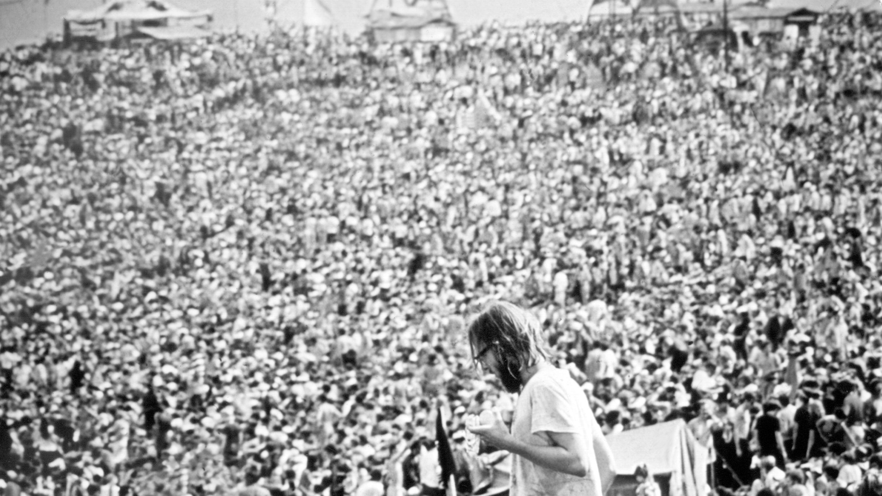 Menschenmenge bei Woodstock-Festival im August 1969