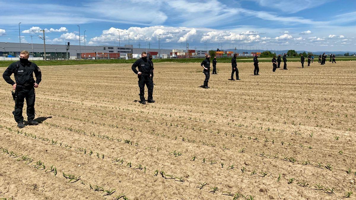 Polizeikräfte bei der Absuche des Feldes