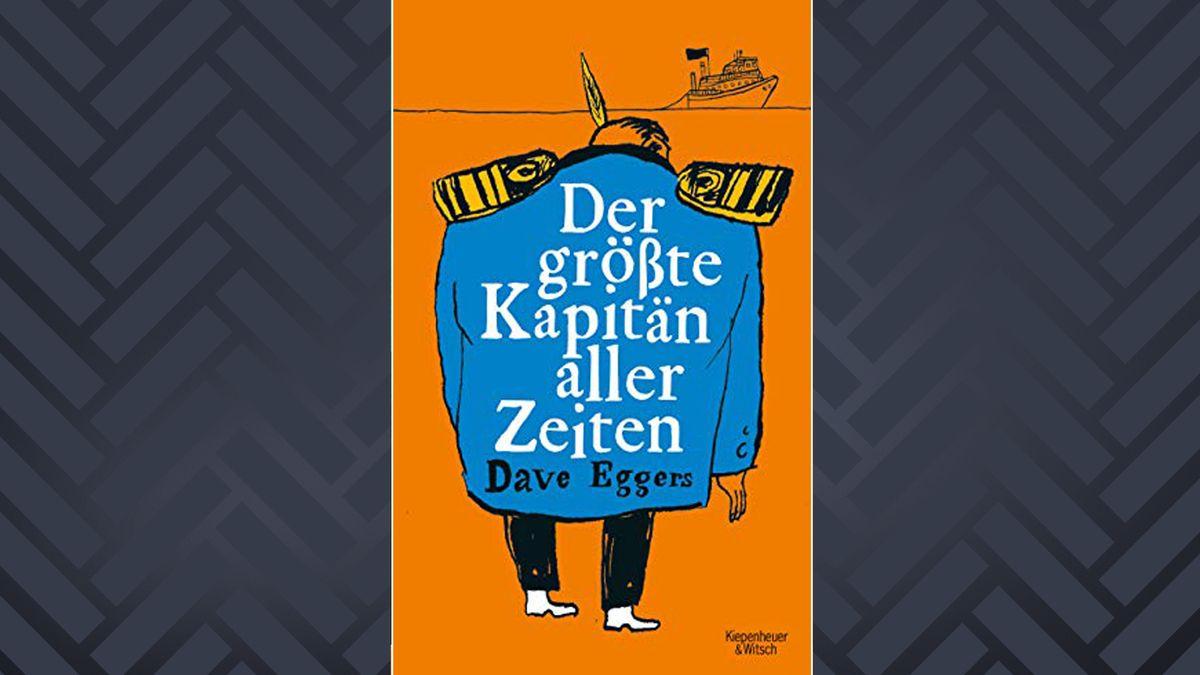 Oranges Buch mit der Rückenskizze eines dicken, blaugewandeten Kapitäns
