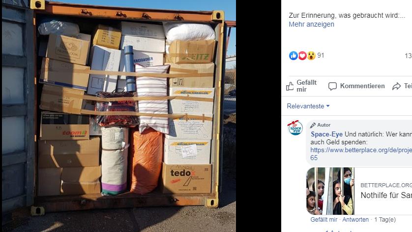 Facebook-Post von Space-Eye: Der erste Hilfscontainer für Samos ist gepackt. Screenshot von der Facebook-Seite von Space-Eye