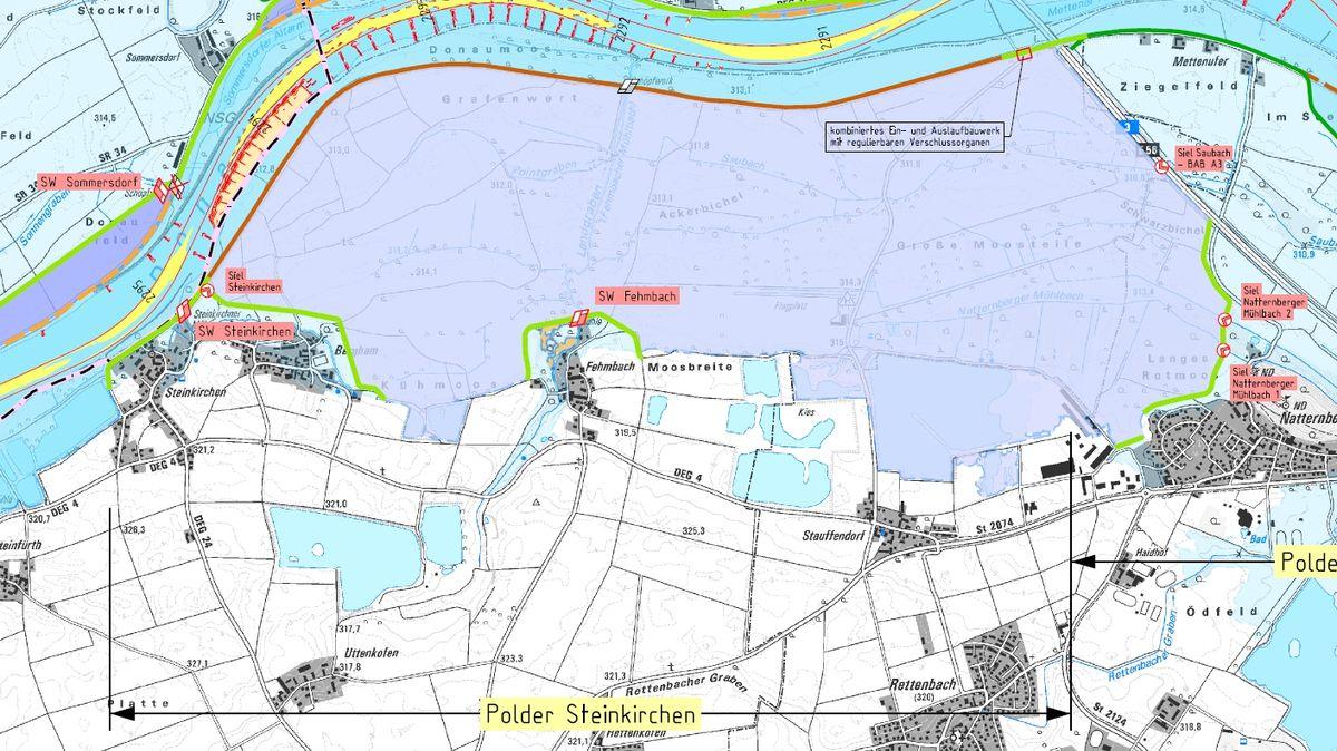 Karte vom Polder Steinkirchen bei Deggendorf