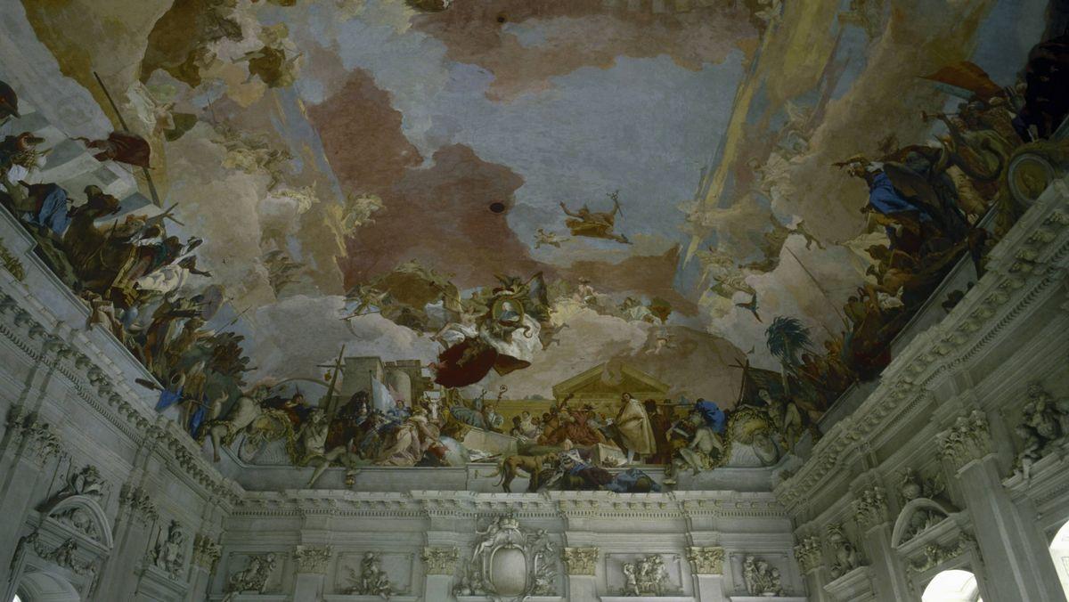 Das Decken-Fresko von Tiepolo im Treppenhaus der Würzburger Residenz