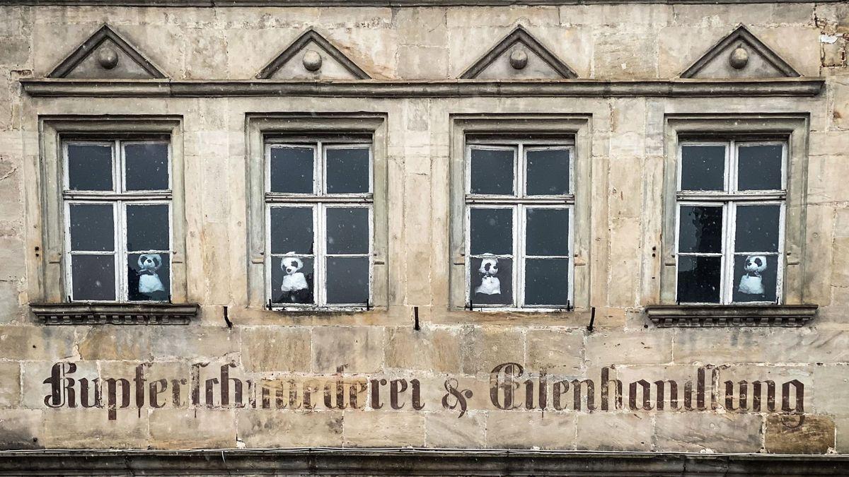 Bernd Ziegler aus Ebern hat Pandabären in die Fenster eines alten Hauses gesetzt und will damit in der Corona-Zeit verbreiten.