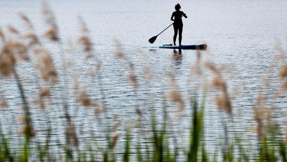 Ein Stand-up Paddler auf einem See