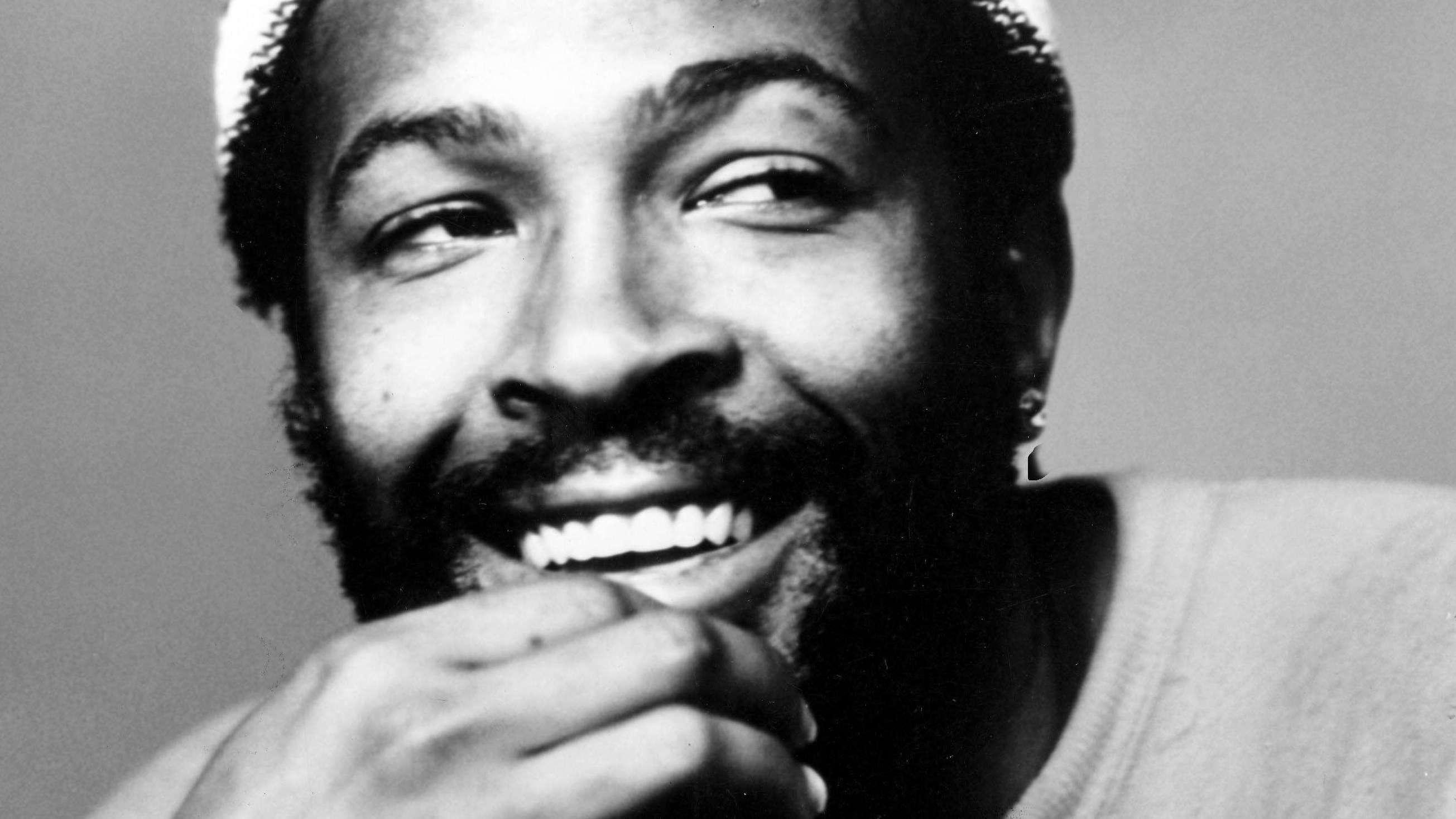Schwarz Weiß Porträt von Marvin Gaye