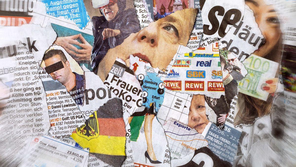 Zeitungsschnipsel aus verschiedenen Tageszeitungen.