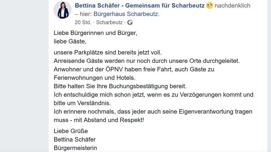 Die Bürgermeisterin von Scharbeutz, Bettina Schäfer, ruft Urlauber via Facebook dazu auf, sich an die Abstandsregeln zu halten.