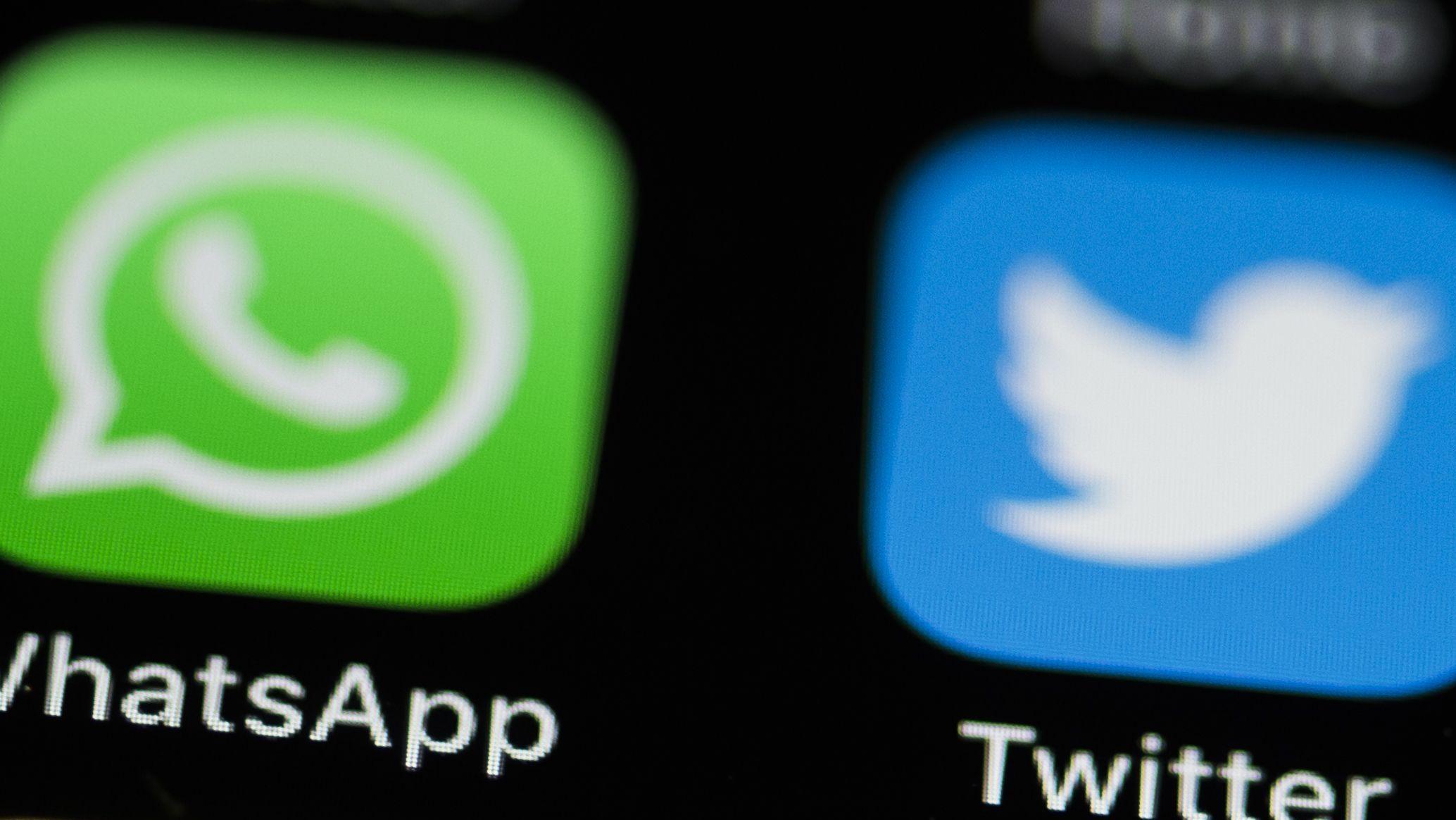 Logos von Whatsapp und Twitter