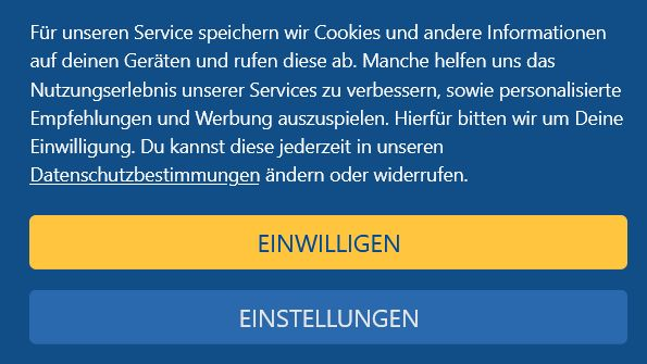 Cookie-Hinweis-Fenster