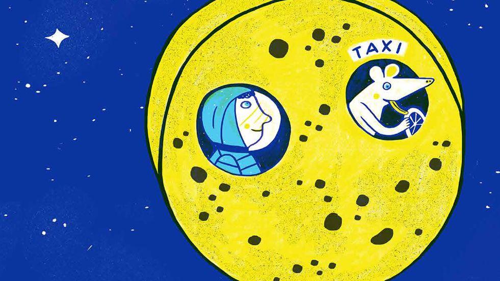 Eine Illustration von Katja Spitzer zu einer Geschichte von Saša Stanišić. In einem runden Käse sitzen eine Maus - der Chauffeur - und ein Kind - der Fahrgast im Taxi