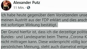 Mit dieser Mitteilung hat der Landshuter Oberbürgermeister Alexander Putz seinen Austritt aus der FDP bekanntgegeben.