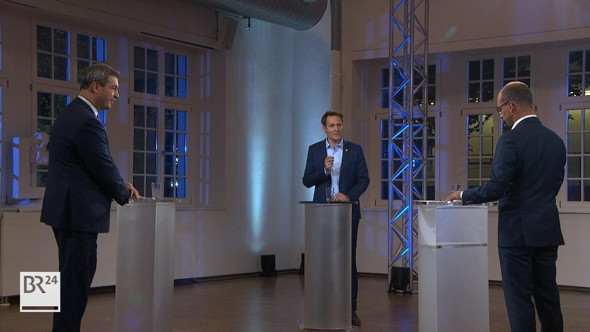 Die Spitzenkandidaten von CSU und Grünen, Markus Söder und Ludwig Hartmann, lieferten sich beim TV-Duell im BR Fernsehen eine kontroverse Debatte