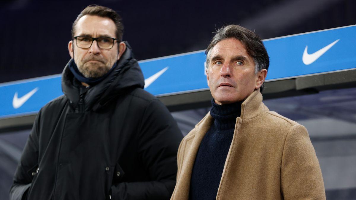 Herthas Trainer Bruno Labbadia (rechts) und Manager Michael Preetz