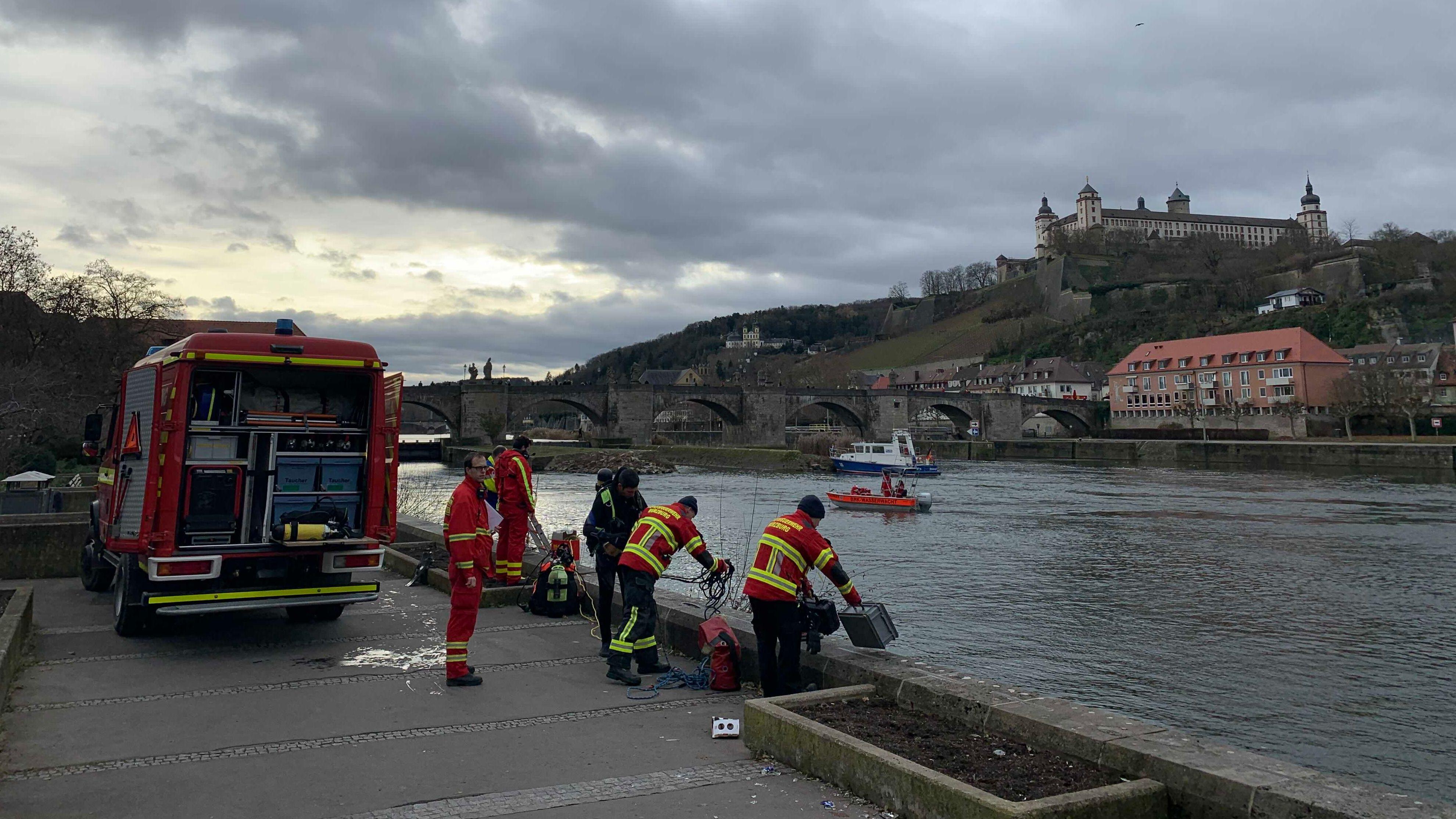 Großeinsatz bei Vermisstensuche am Main bei Würzburg