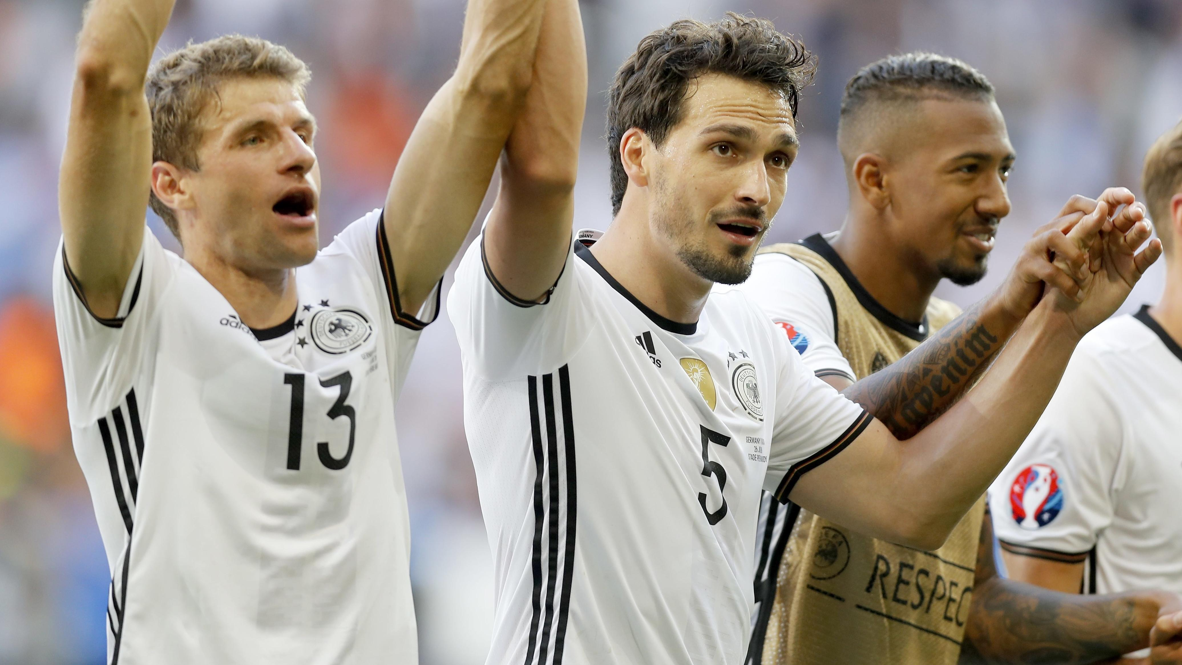 Thomas Müller, Mats Hummels und Jérôme Boateng im Trikot der Nationalmannschaft