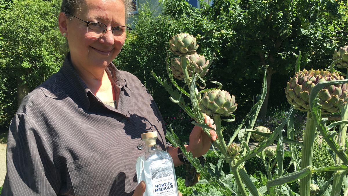 Museumsdirektorin Marion Ruisinger mit einer Artischocke im Arzneipflanzengarten des Deutschen Medizinhistorischen Museums in Ingolstadt. Die Pflanze ist eine der 15 Zutaten in ihrem Gin.