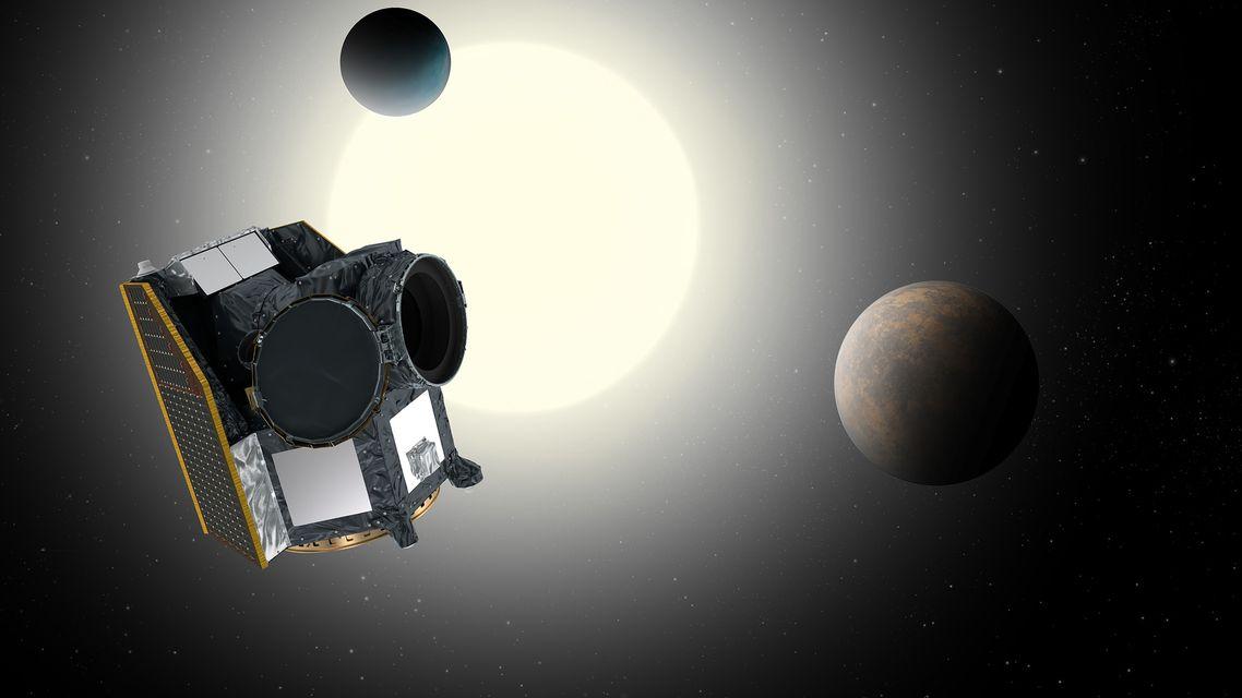 Forschungssatellit CHEOPS mit Stern und Exoplaneten (künstlerische Darstellung