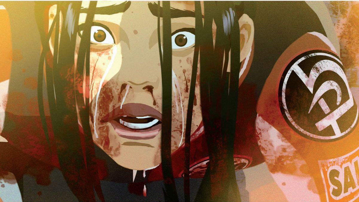 Gesicht eines der Protagonisten mit weit aufgerissenen Augen