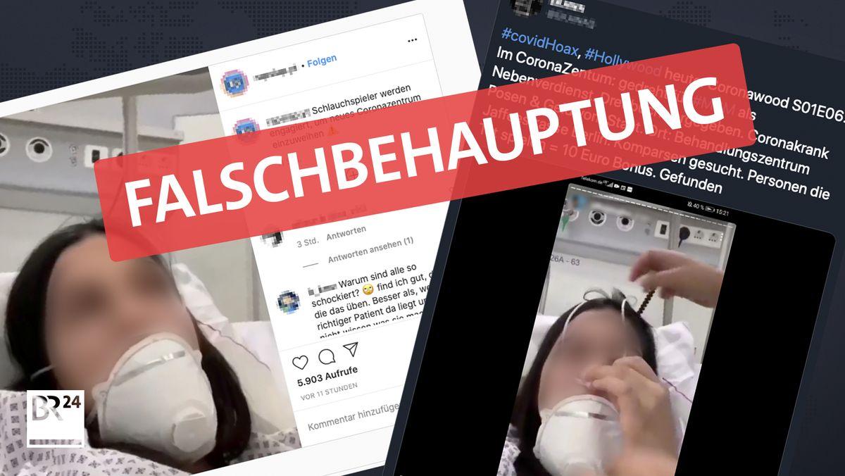 Screenshots (Instagram & Twitter): Keine Schauspieler als Corona-Kranke im Krankenhaus.