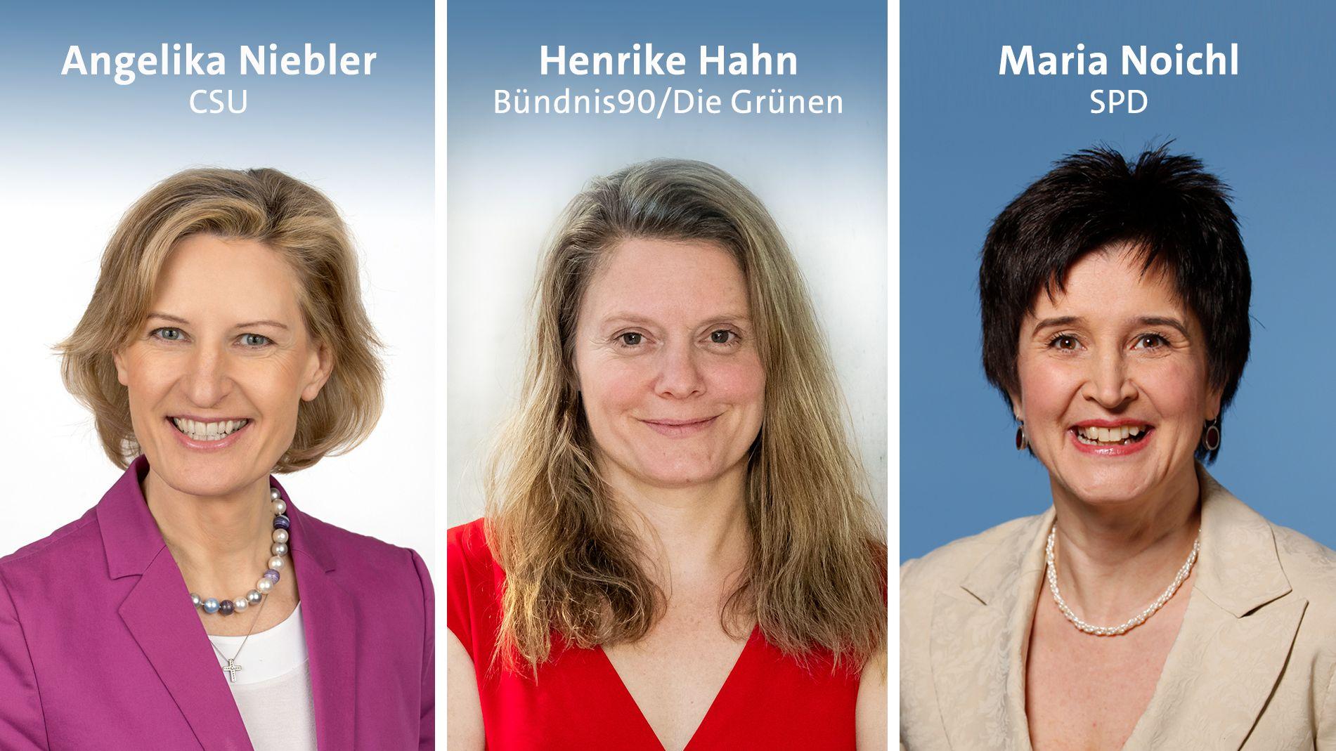 Angelika Niebler (CSU), Henrike Hahn (Bündnis 90 / Die Grünen) und Maria Noichl (SPD)