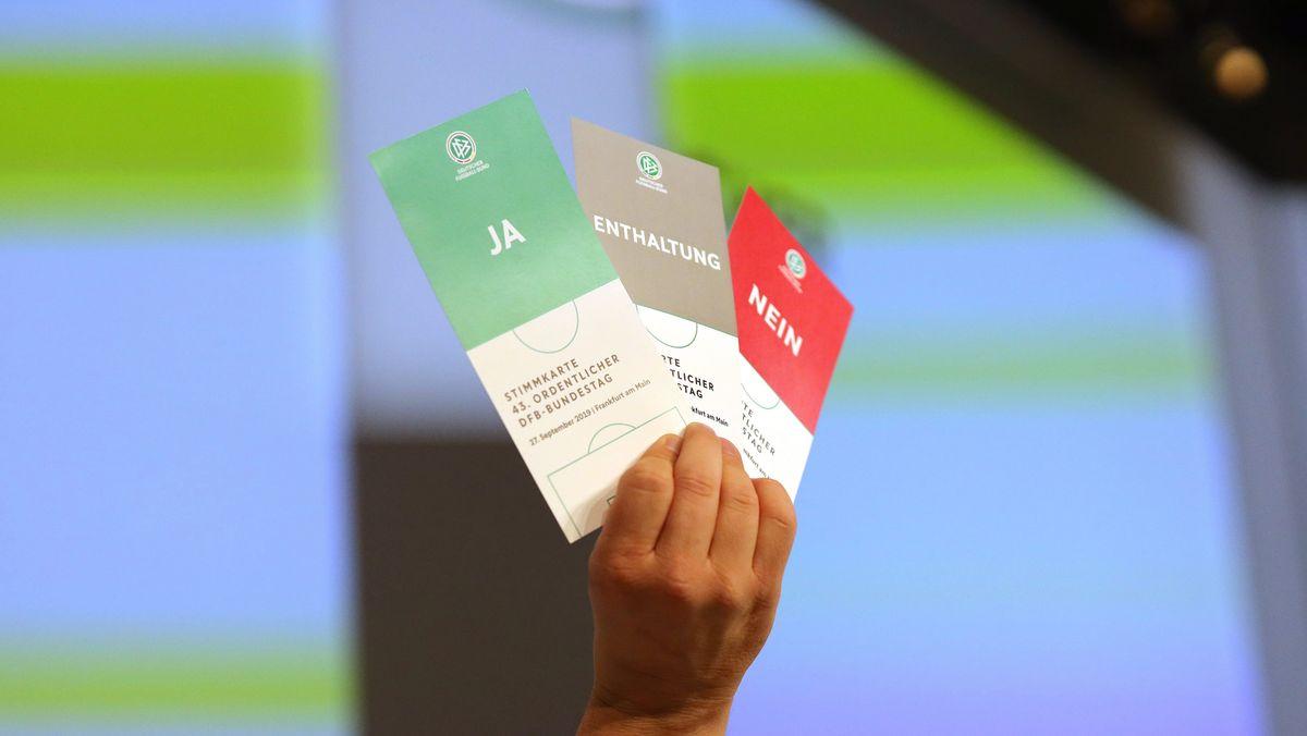 Stimmkarten auf dem DFB-Bundestag im vergangenen Jahr