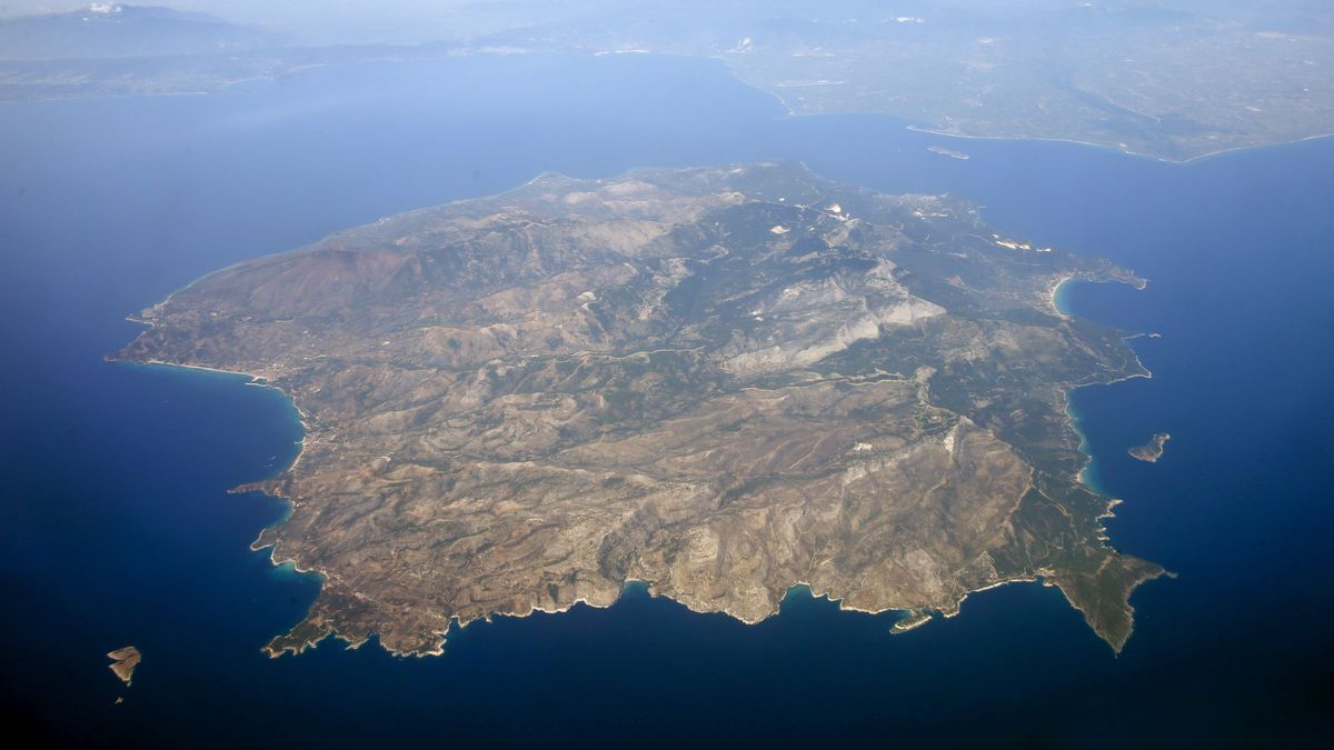 Luftaufnahme der griechischen Insel Thasos