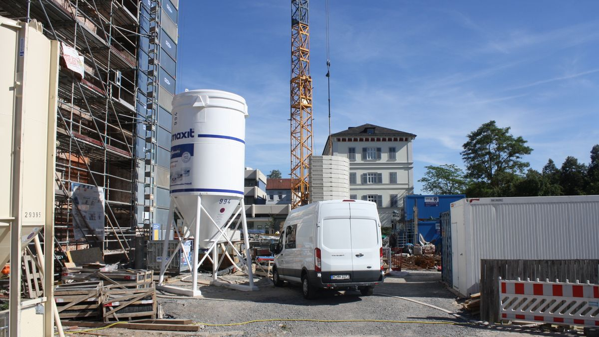 Baustelle auf dem Areal des alten Kurhaushotels in Bad Kissingen