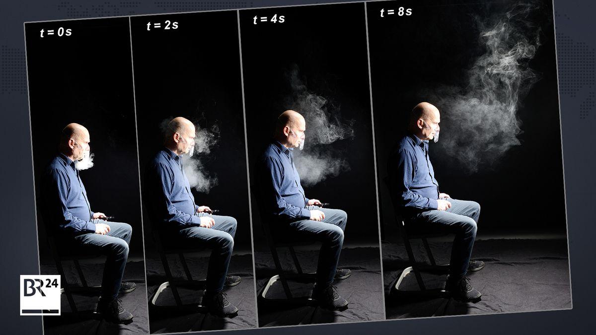 Aerosolausbreitung beim Ausatmen durch die Nase. Die Versuchsperson atmet gleichmäßig durch die Nase aus, ohne sich zu bewegen oder zu sprechen.