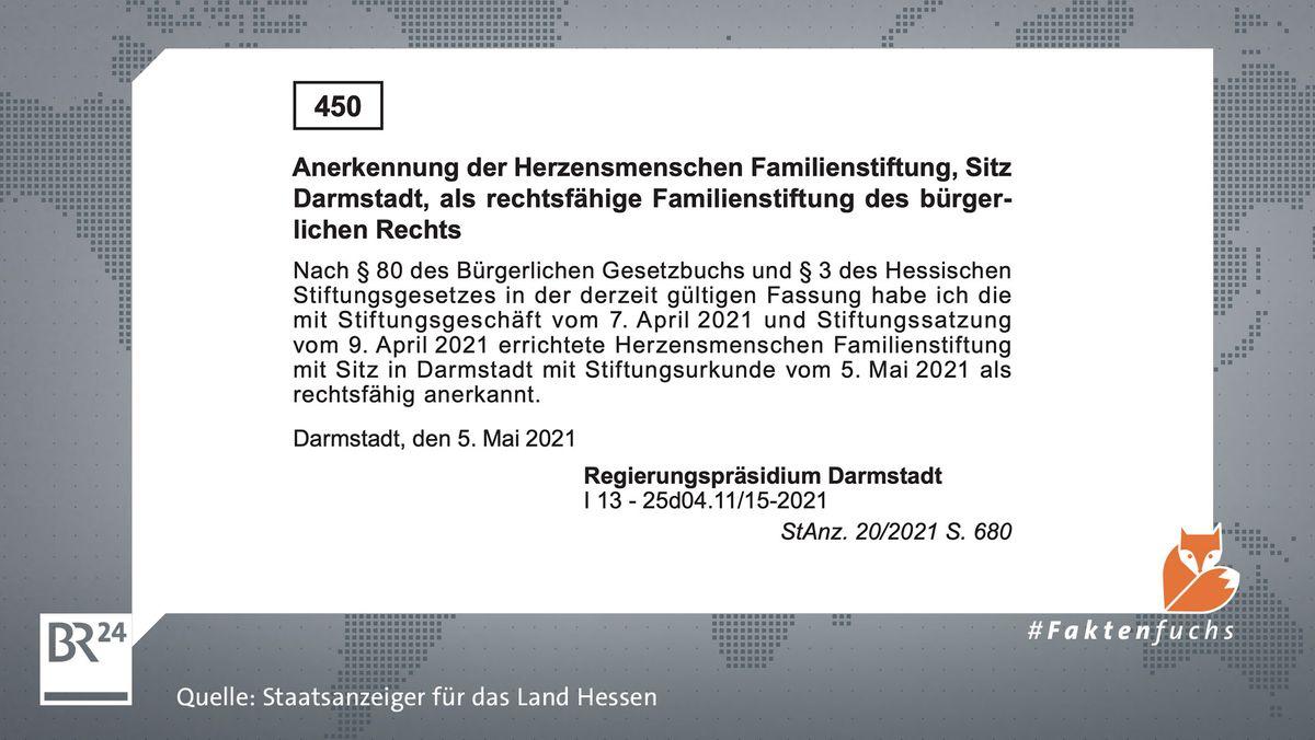 """Laut hessischem Staatsanzeiger wurde die Gründung der """"Herzensmenschen Familienstiftung"""" am 7. April 2021 beantragt und am 5. Mai 2021 genehmigt."""