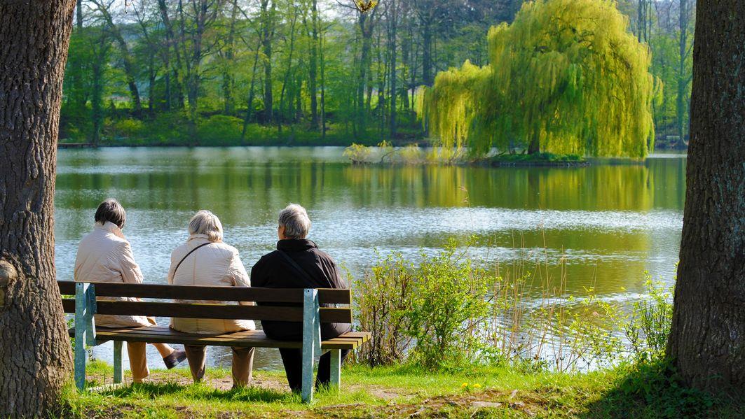 Rentner auf Bank vor Teich