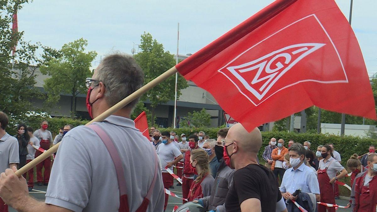 Protestaktion bei Linde in Aschaffenburg