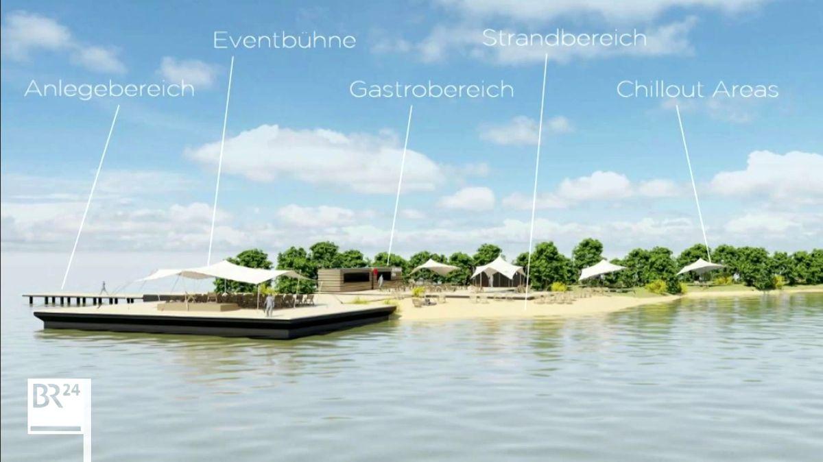 Animationsbild der Insel am Altmühlsee mit Vorschlägen, wie sie genutzt werden könnte.