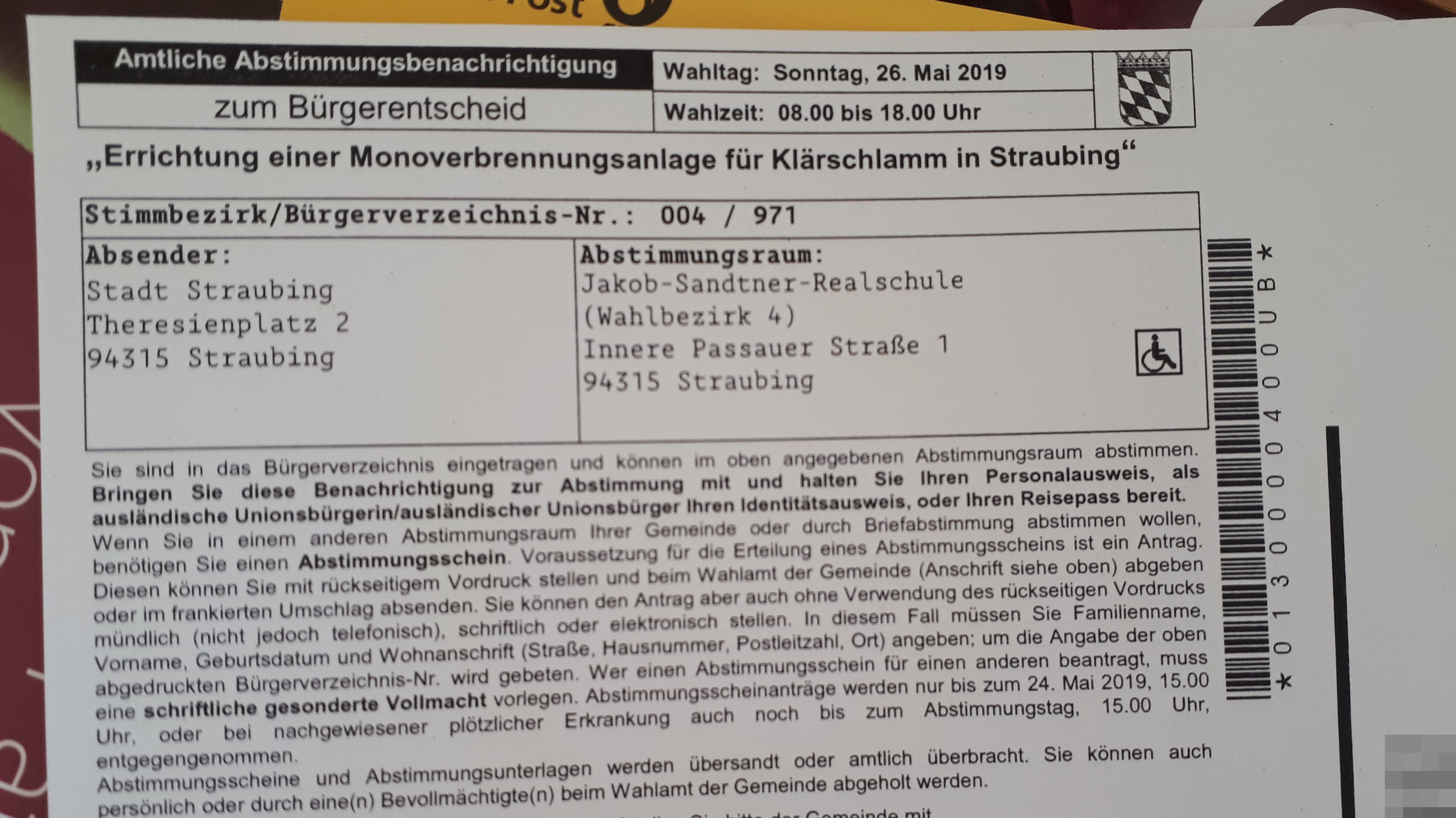 Abstimmungsbenachrichtigung zum Bürgerentscheid in Straubing.