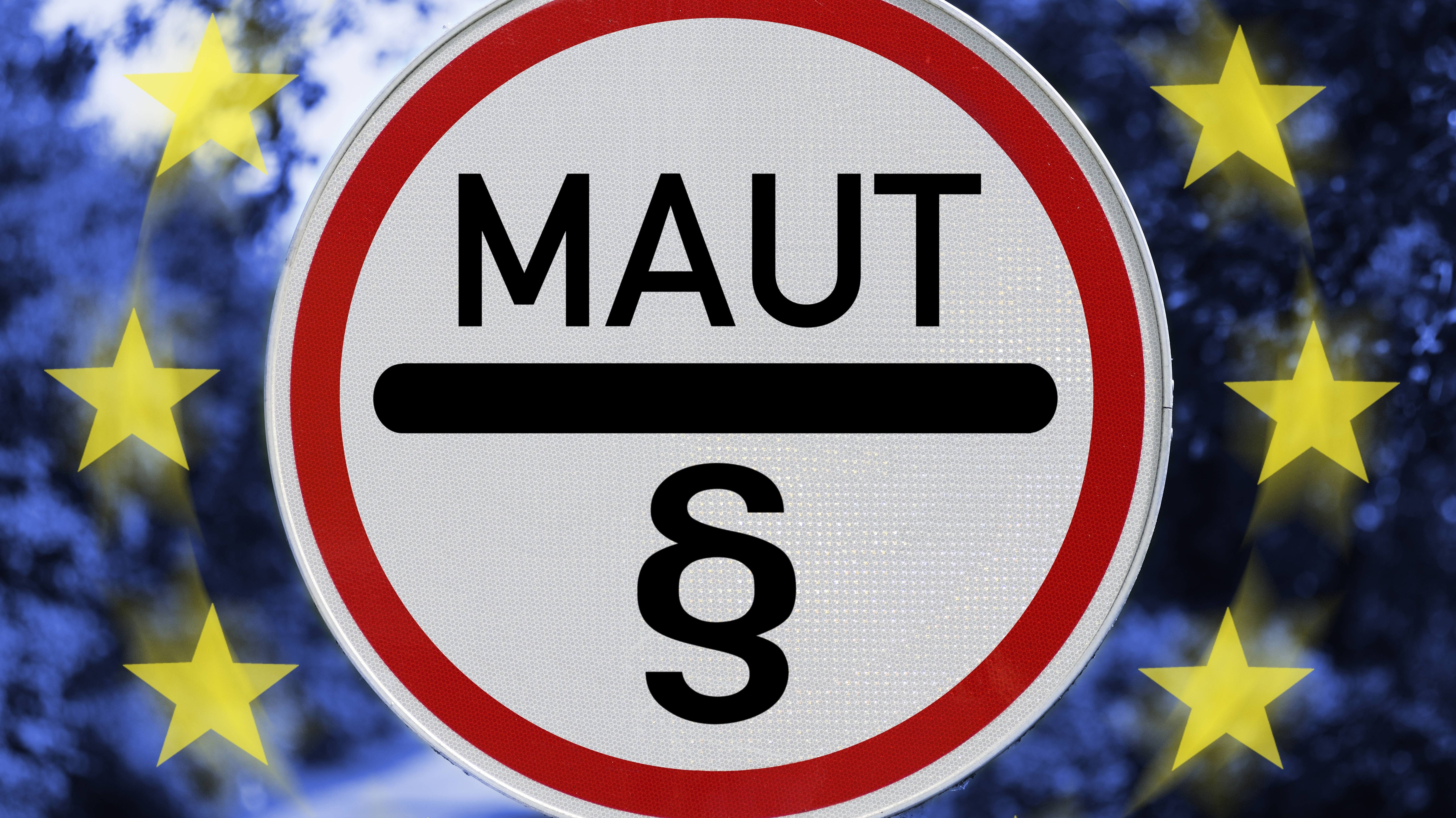 Maut-Schild mit Paragraphenzeichen und EU-Sternen