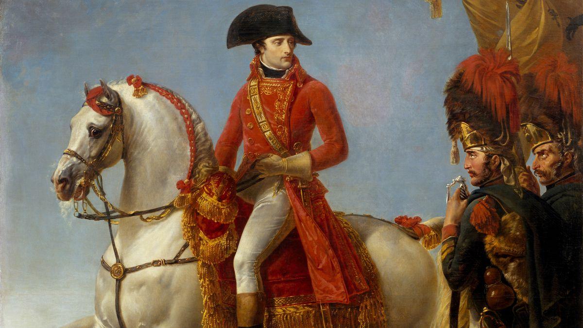 Gemälde von Antoine-Jean Gros: Der Kaiser im roten Mantel auf dem Schimmel