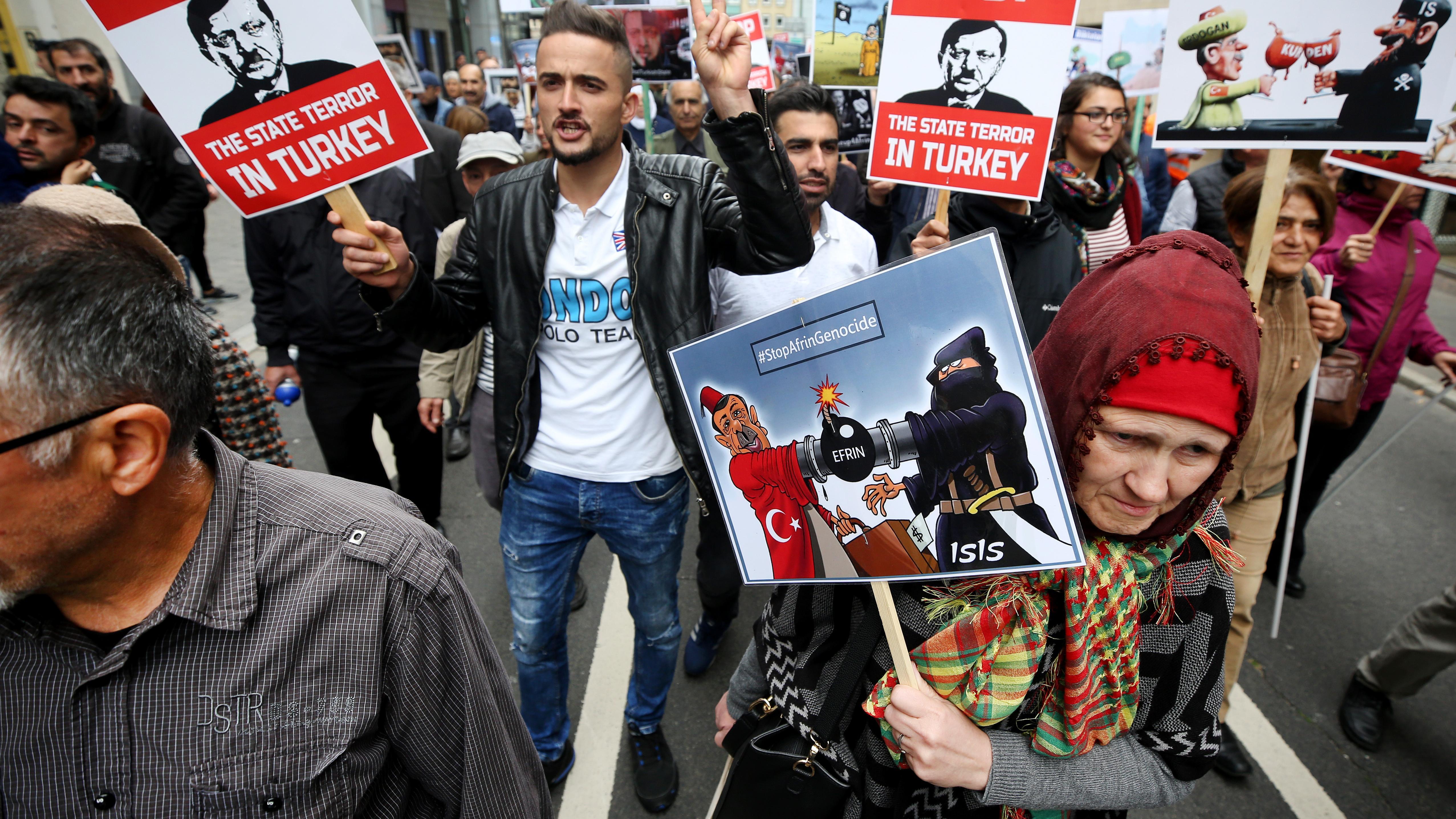 Proteste gegen den geplanten Besuch des türkischen Staatspräsidenten Erdogan