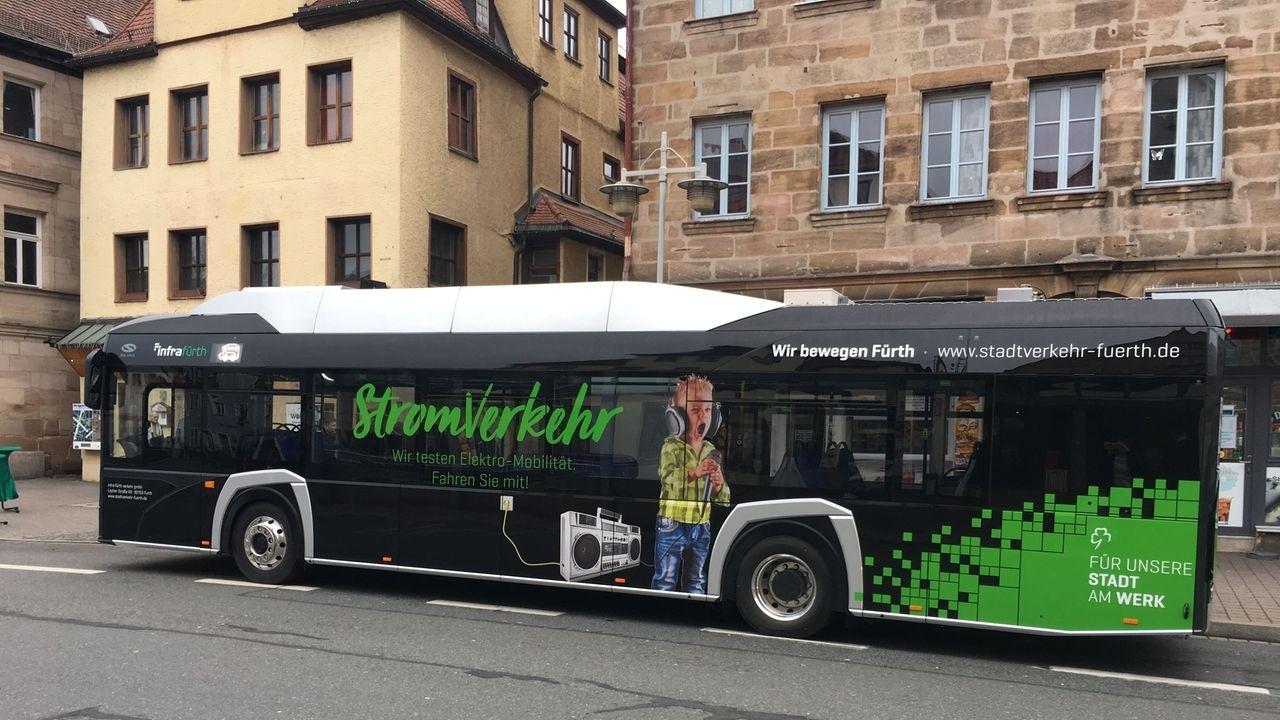 Ein vollelektrischer Bus der Infra Fürth