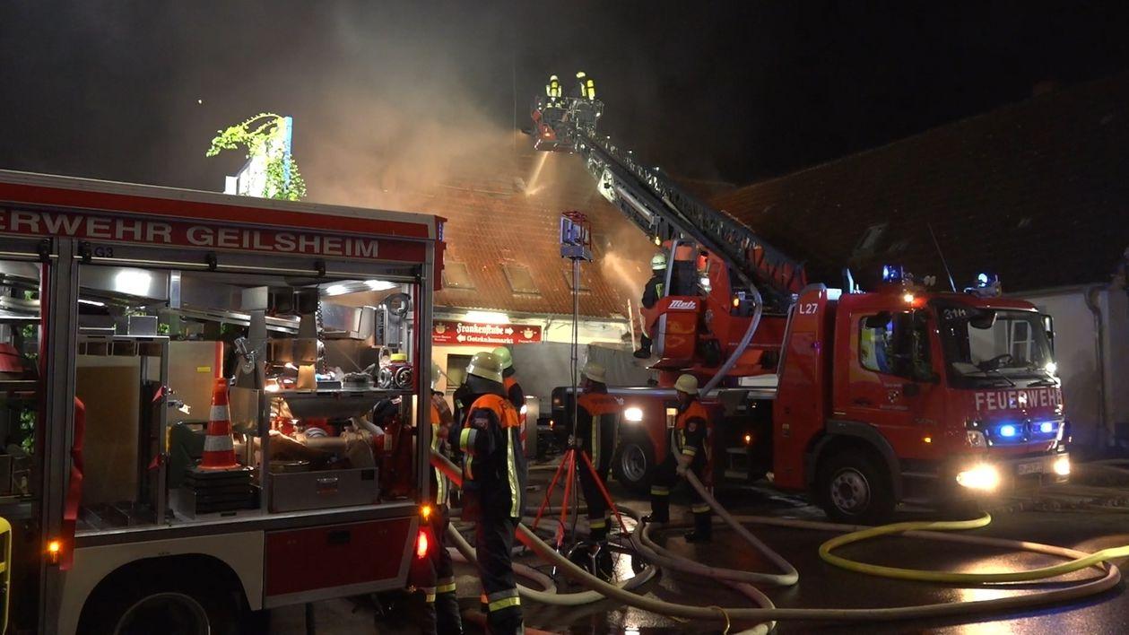 Am Brandort in Geilsheim