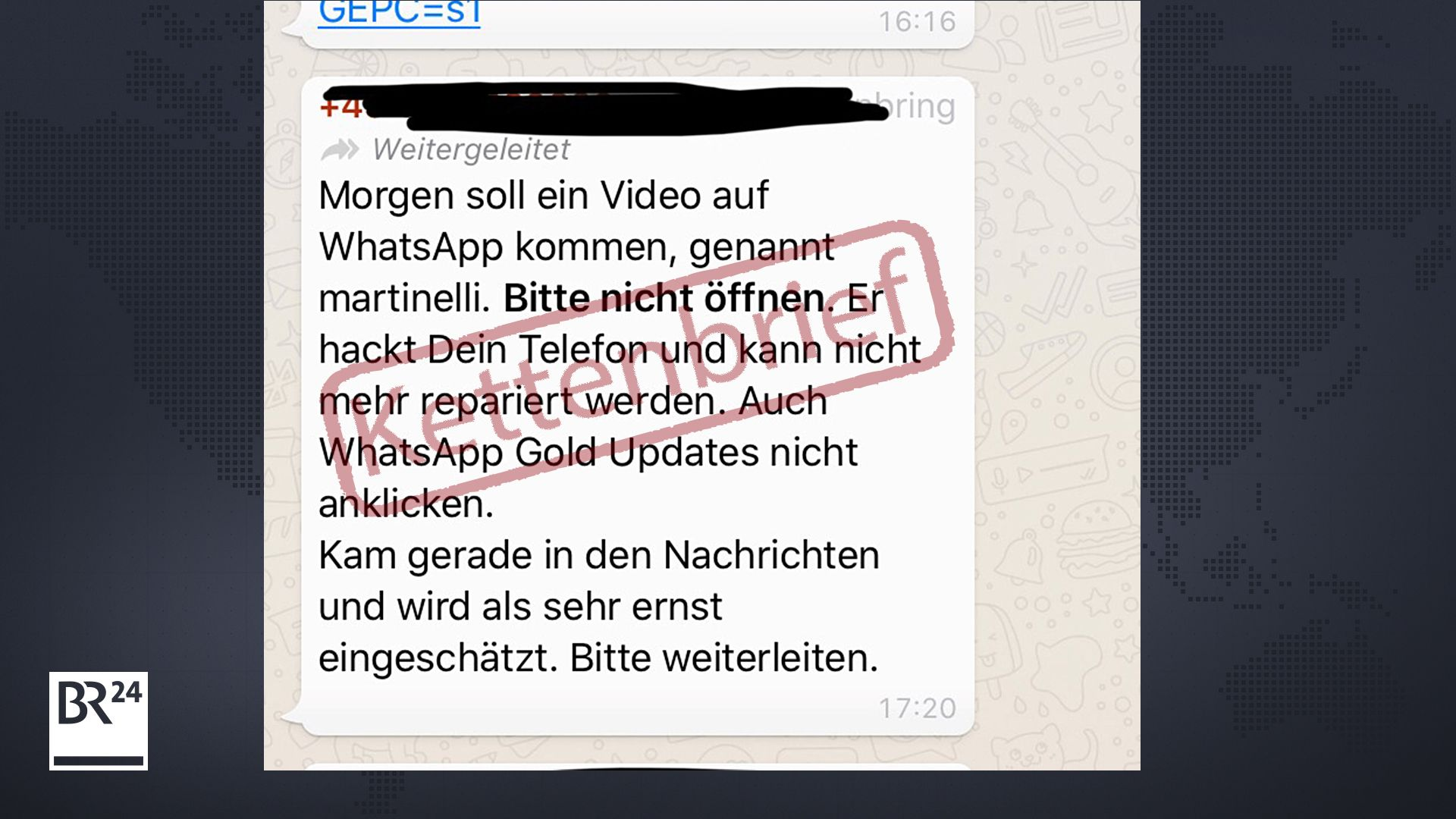"Screenshot des WhatsApp-Kettenbriefs zu ""martinelli"" und ""WhatsApp Gold Updates"""