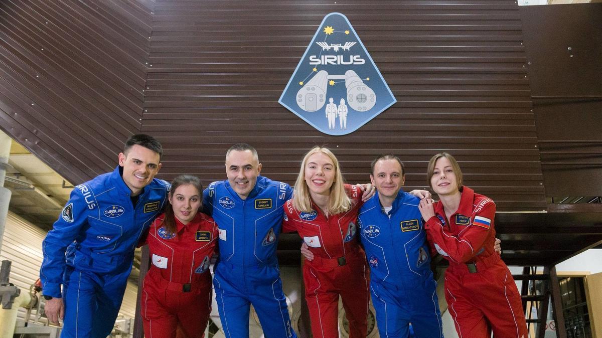 Drei Raumfahrerinnen und drei Raumfahrer der Mission Sirius