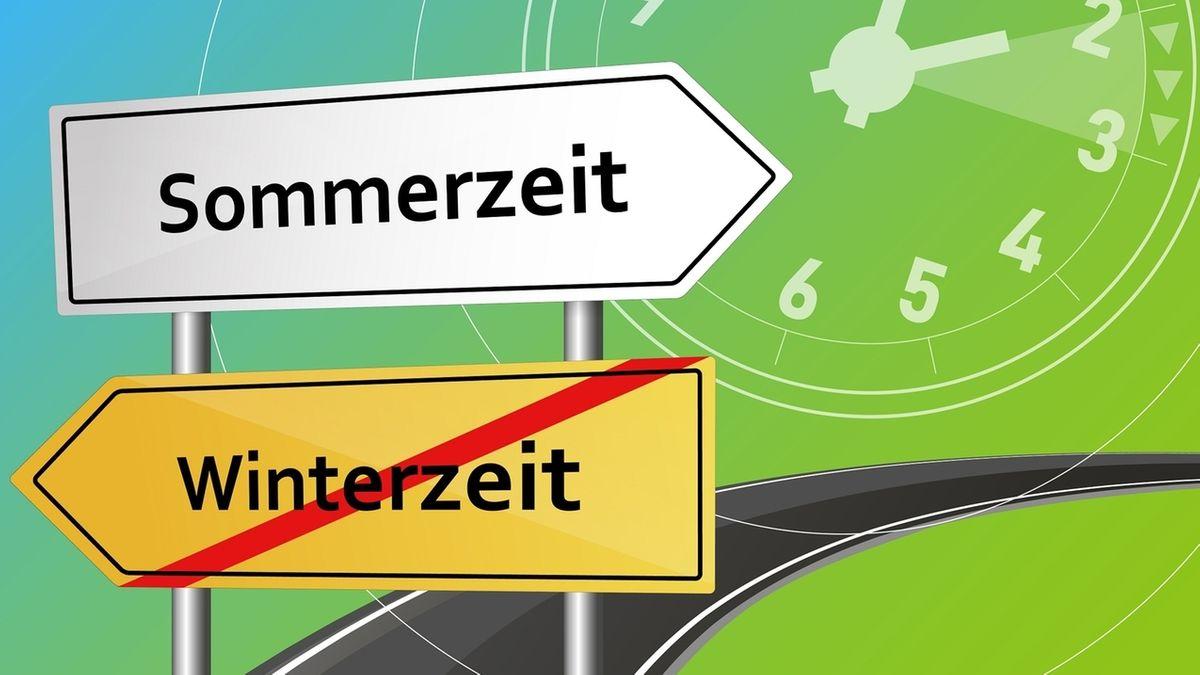 """Zwei """"Verkehrsschilder"""" mit Pfeil: Sommerzeit in weiß und Winterzeit in gelb, die rot durchgestrichen ist."""