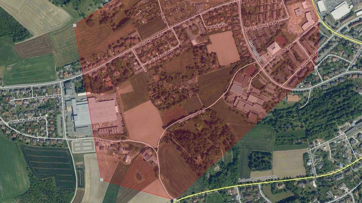 Karte, auf der das Evakuierungsgebiet zu sehen ist.