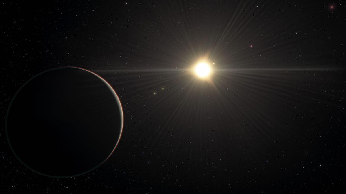 Künstlerische Darstellung: Blick auf den am weitesten von seinem Stern entfernt Planeten im TOI-178-System