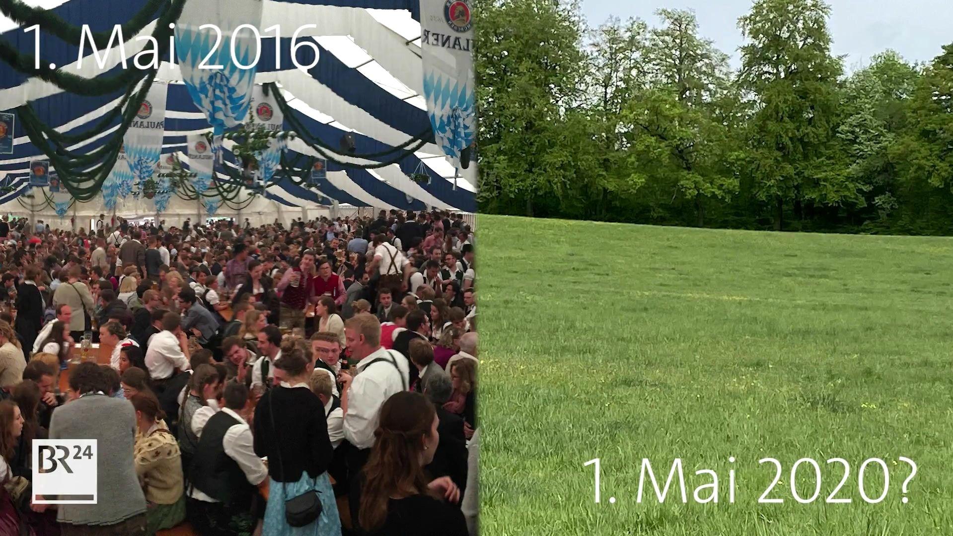 1. Mai 2016: Volles Bierzelt, 1. Mai 2020: Leere Wiese