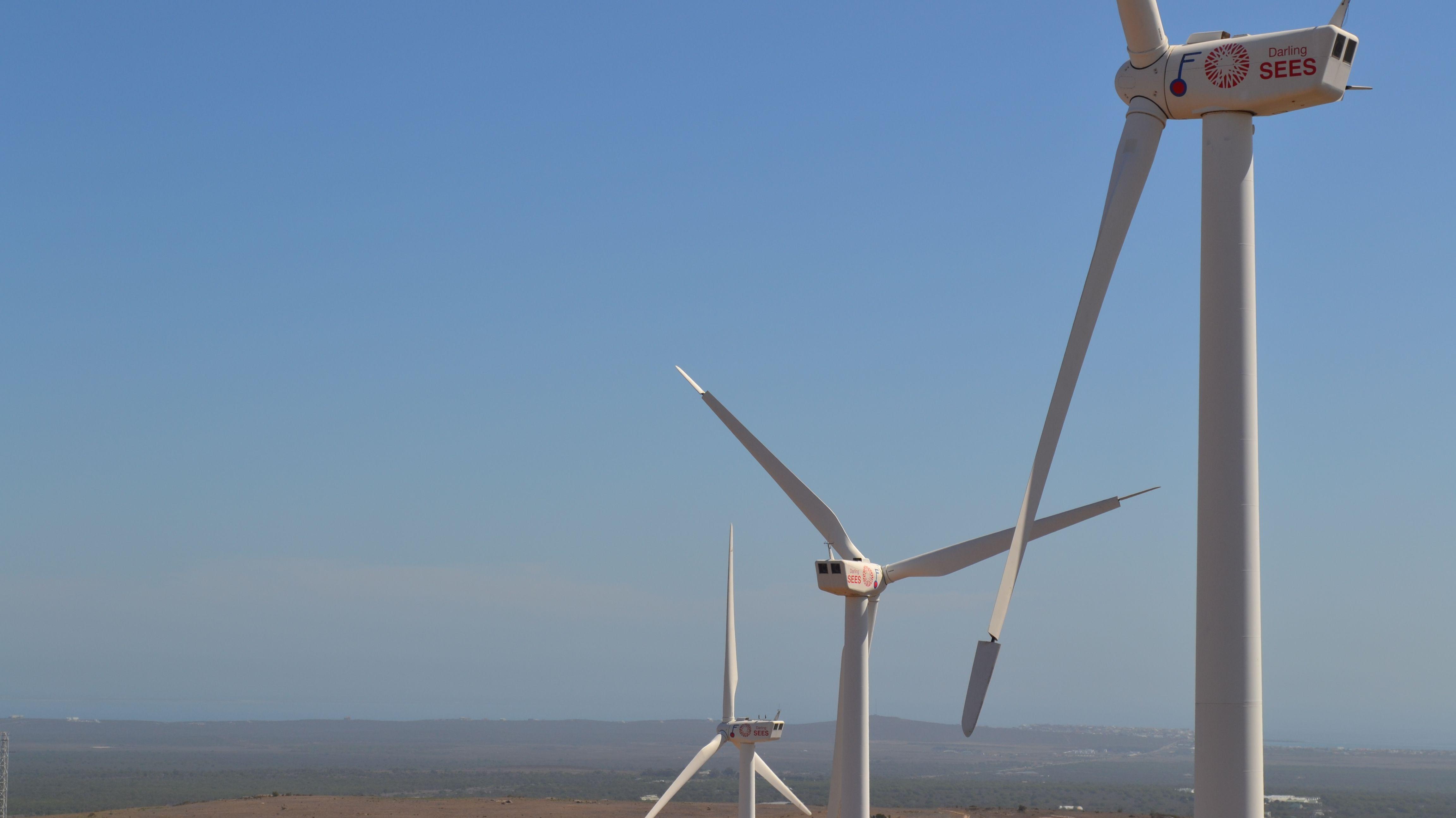 Windräder auf der Darling Windfarm in Darling in der südafrikanischen Provinz Westcap