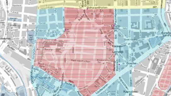 Karte des Münchner Kreisverwaltungsreferats mit der Sperrzone